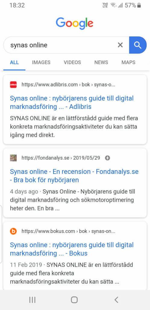 """Fyra dagar efter publicering rankar artikeln på andra plats på Google-sökningen """"synas online"""""""